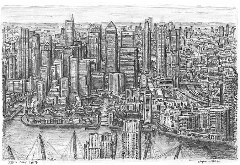 Clusters of Canary Wharf skyscrapers in 2030 - originals and prints by Stephen Wiltshire MBE