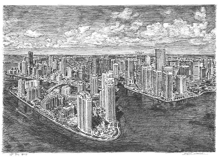 Aerial view of Downtown Miami with White mount (A3) in Cushioned Black frame for A3 mounts (C59)