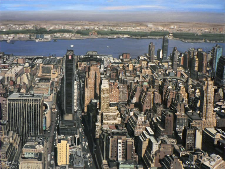 Manhattan Skyline from top of Empire State - oil on canvas - original drawings and prints by Stephen Wiltshire