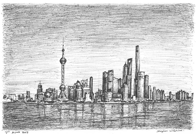 Shanghai skyline - originals and prints by Stephen Wiltshire MBE