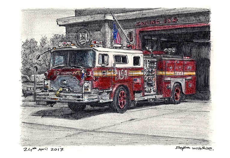 FDNY 154 1988 Mack CF Ward 99 Engine (A4 print) with White mount (A4) in Flat grain black frame for A4 mounts (J90)