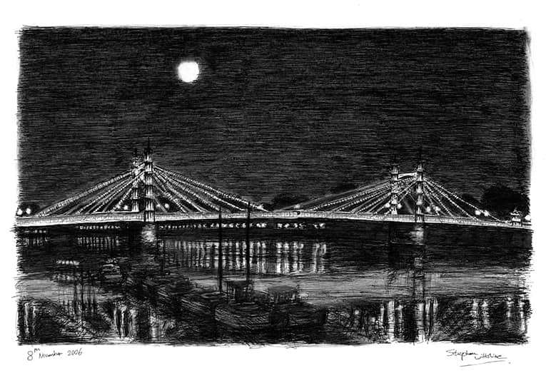 Albert Bridge at night - original drawings and prints by Stephen Wiltshire