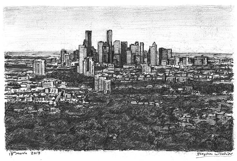 Aerial view of Downtown Houston Skyline (A4 print) with White mount (A4) in Flat grain black frame for A4 mounts (J90)