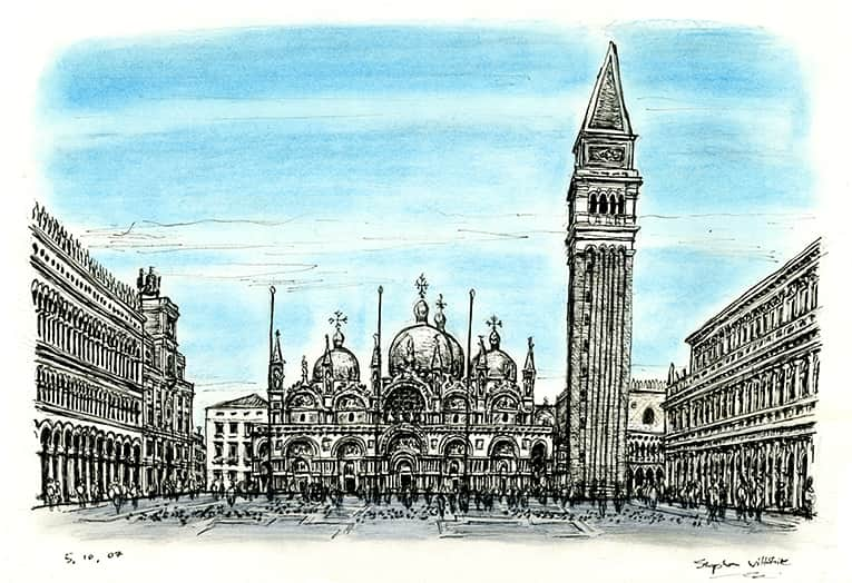 St Marks Square - (San Marco) (A4 print) with White mount (A4) in Flat grain black frame for A4 mounts (J90)