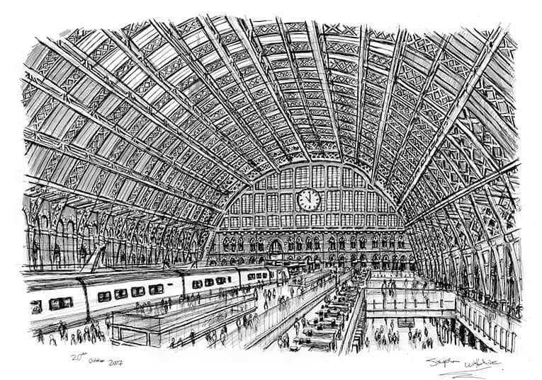 Interior of St Pancras Station - originals and prints by Stephen Wiltshire MBE