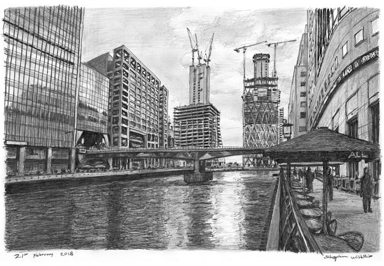 Heron Quays at Canary Wharf, London - originals and prints by Stephen Wiltshire MBE