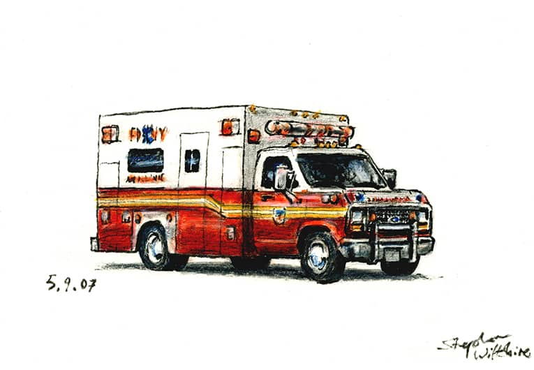 Ford E350 Ambulance Car - original drawings and prints by Stephen Wiltshire
