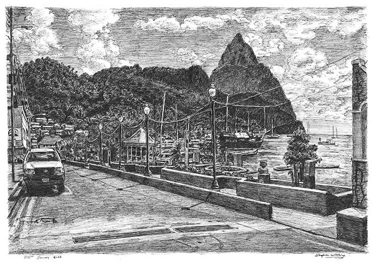 Soufriere, St Lucia - originals and prints by Stephen Wiltshire MBE