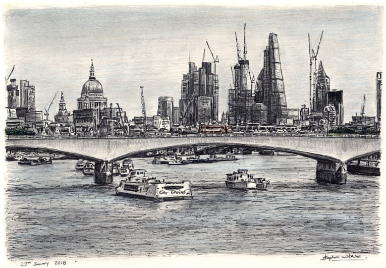 View of London skyline from Waterloo Bridge - originals and prints by Stephen Wiltshire MBE