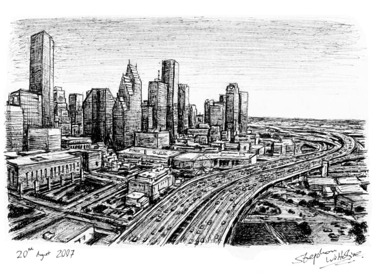 Downtown Houston, Texas - drawings and paintings by Stephen Wiltshire MBE