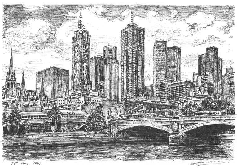 Melbourne Skyline with White mount (A4) in Flat grain black frame for A4 mounts (J90)