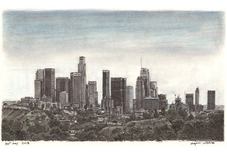 Downtown Los Angeles Skyline - Original Drawings and Prints for Sale