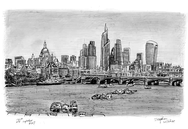 The Changing London Skyline (A4 print) with White mount (A4) in Flat grain black frame for A4 mounts (J90)