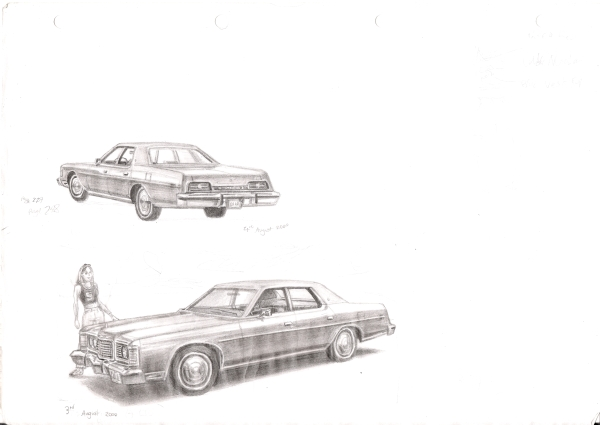 1973 Ford LTD - originals and prints by Stephen Wiltshire MBE