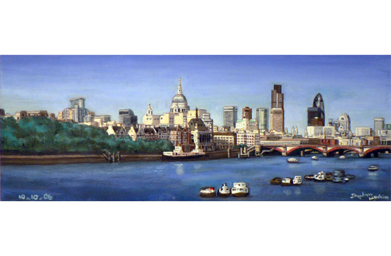London Skyline - oil on canvas - original drawings and prints by Stephen Wiltshire