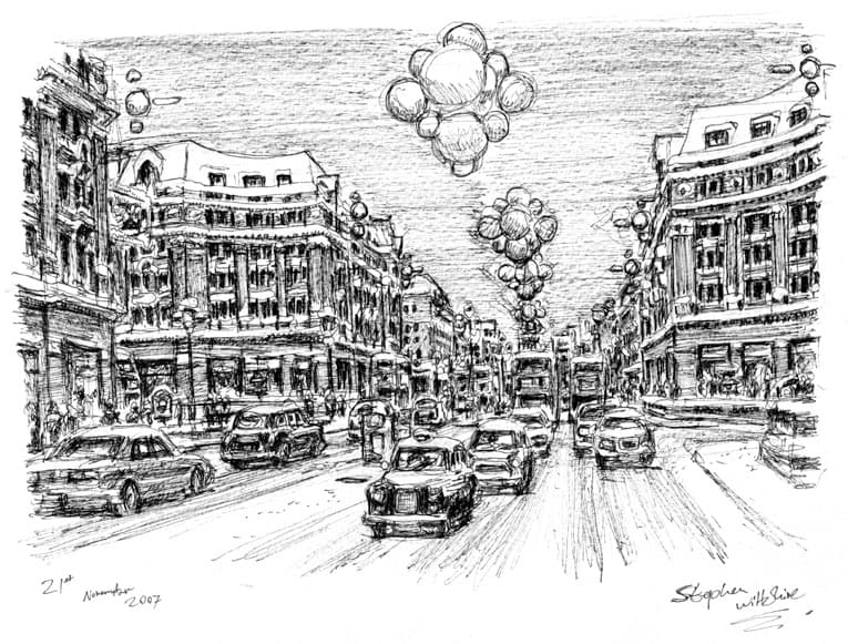Regent Street at Christmas - Original Drawings and Prints for Sale
