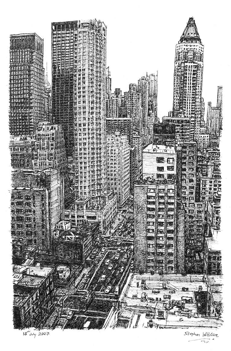 New York street scene with White mount (A4) in Flat grain black frame for A4 mounts (J90)