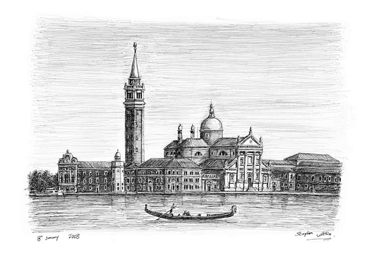 San Giorgio Maggiore in Venice - original drawings and prints by Stephen Wiltshire