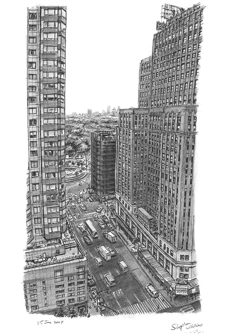 Birds eye view of Central Park (from the office of Esquire) - originals and prints by Stephen Wiltshire MBE