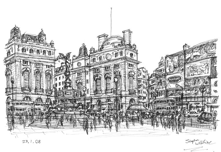 Memory sketch of Piccadilly Circus with White mount (A4) in Flat grain black frame for A4 mounts (J90)