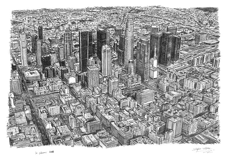 Aerial view of Los Angeles Skyline with White mount (A4) in Flat grain black frame for A4 mounts (J90)