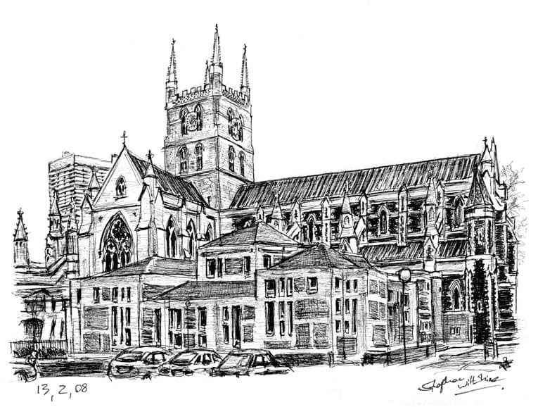 Southwark Cathedral - original drawings and prints by Stephen Wiltshire