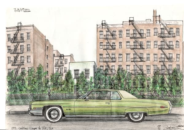 1972 Cadillac Coupe De Ville - originals and prints by Stephen Wiltshire MBE