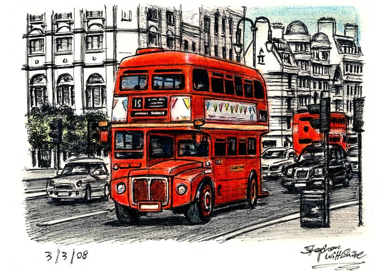 London Routemaster Bus (at the Strand) - original drawings and prints by Stephen Wiltshire