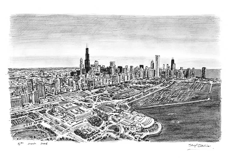 Aerial view of Chicago (A4 print) with White mount (A4) in Flat grain black frame for A4 mounts (J90)