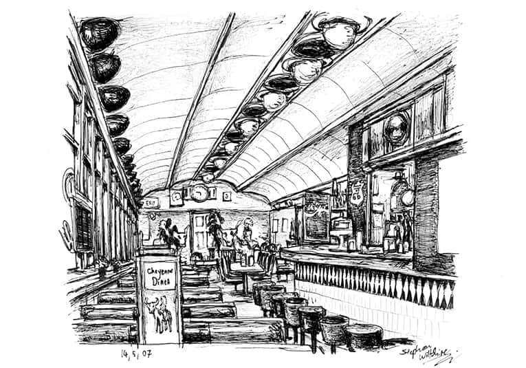 Cheyenne`s Diner in New York - originals and prints by Stephen Wiltshire MBE