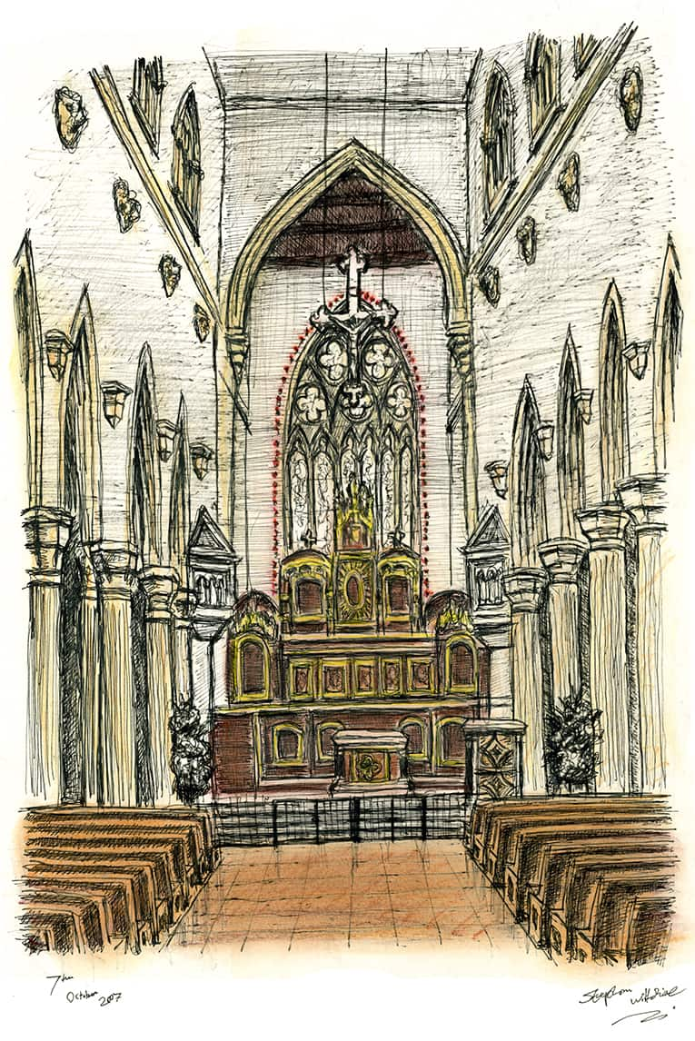 Interior of St Mary of the Angels Church in Notting Hill - drawings and paintings by Stephen Wiltshire MBE