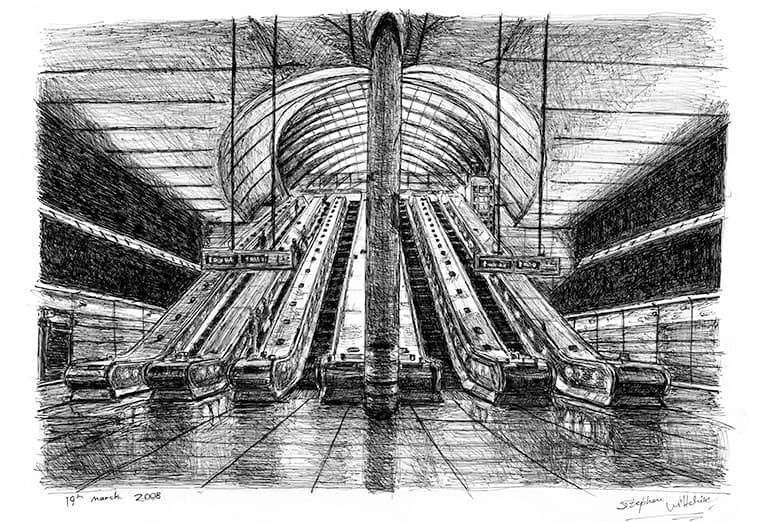 Canary Wharf Tube Station - originals and prints by Stephen Wiltshire MBE