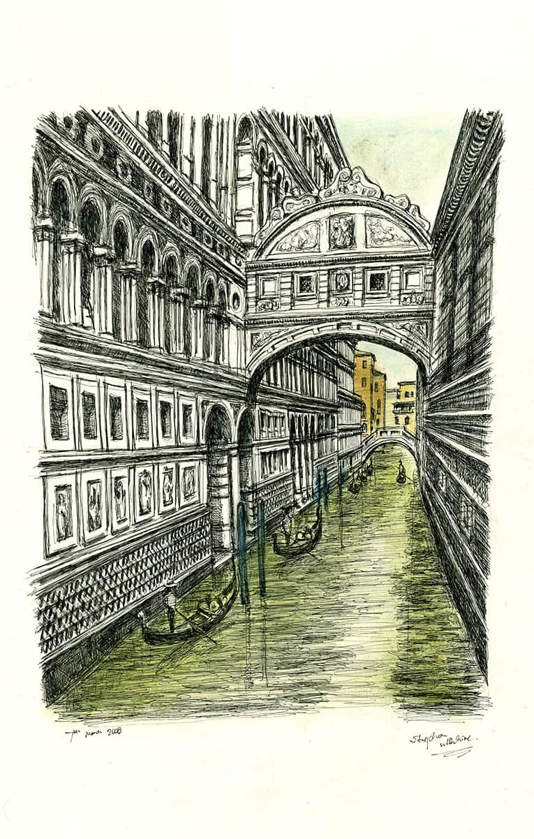 Bridge of Sighs in Venice - originals and prints by Stephen Wiltshire MBE