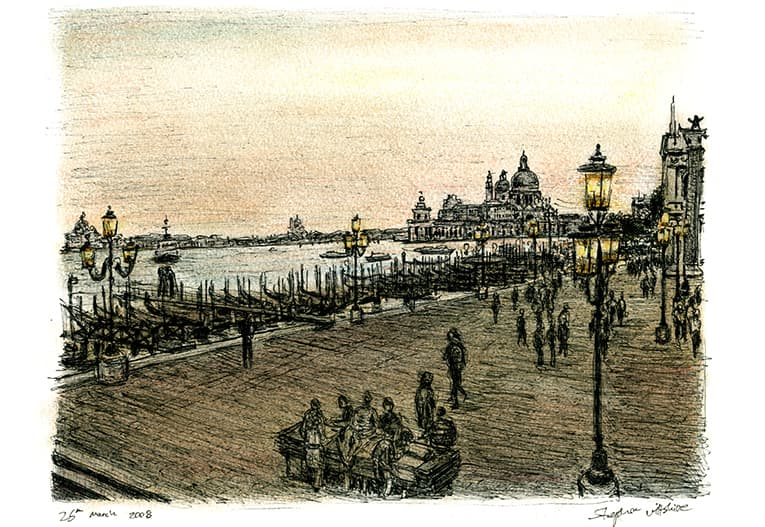 View of Venice at dawn - originals and prints by Stephen Wiltshire MBE