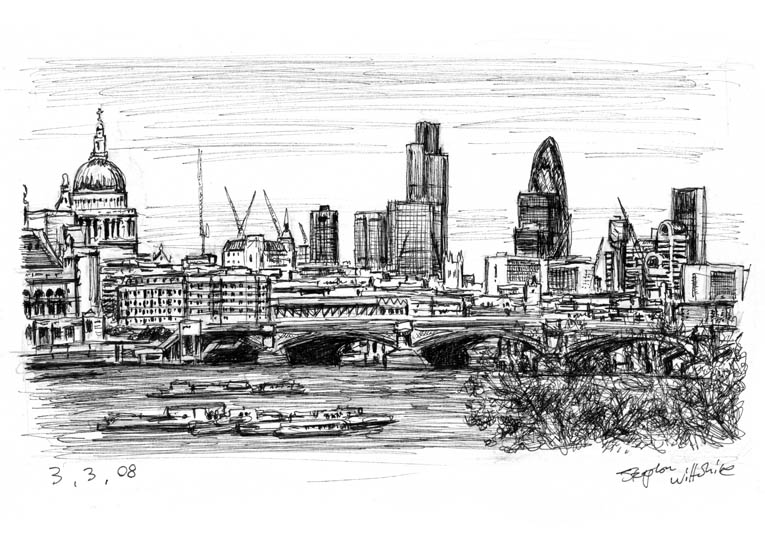 View of London from Waterloo Bridge - original drawings and prints for sale