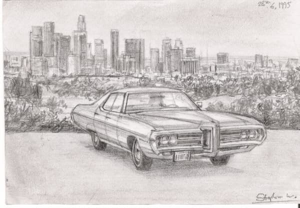 1969 Pontiac Boneville - original drawings and prints for sale