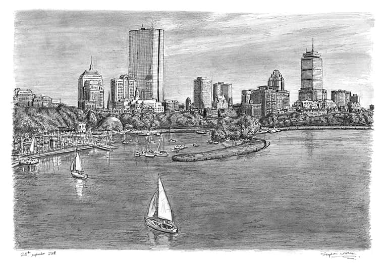 Boston Skyline - originals and prints by Stephen Wiltshire MBE