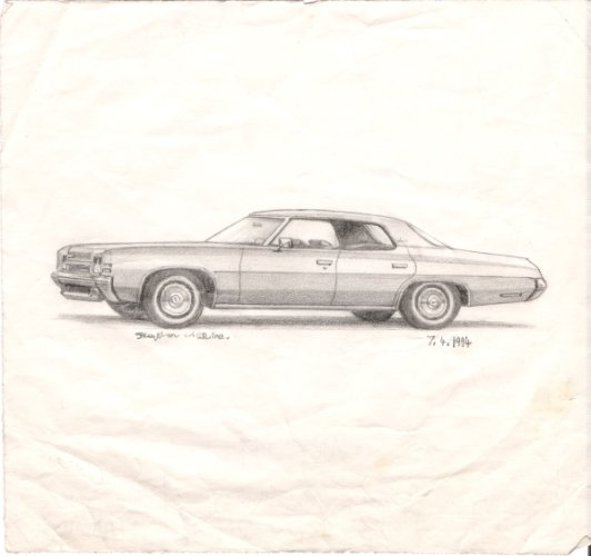 1972 Chevy Impala - originals and prints by Stephen Wiltshire MBE