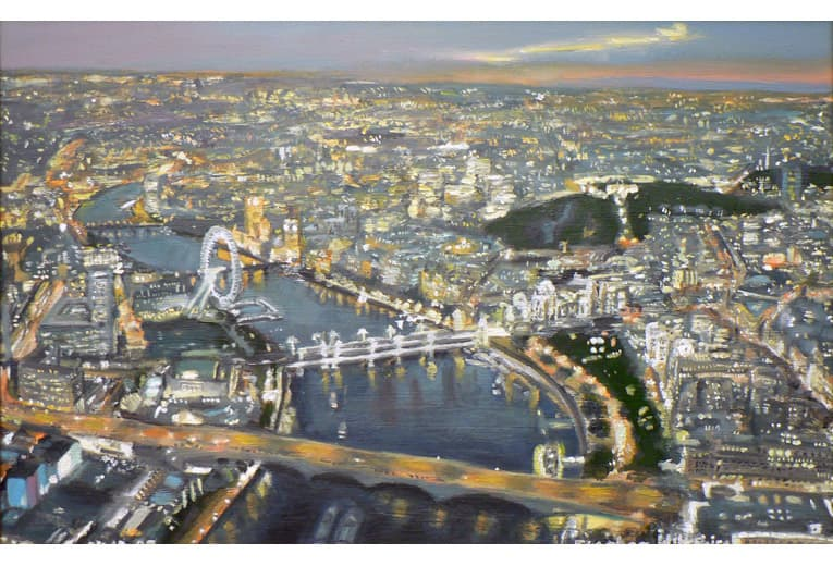 Aerial view of London - oil on board - originals and prints by Stephen Wiltshire MBE