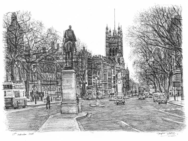 Whitehall Road, London - original drawings and prints by Stephen Wiltshire
