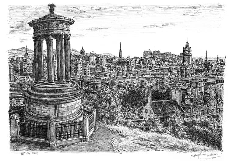 View of Edinburgh from Calton Hill with White mount (A3) in Flat hessian black frame for A3 mounts (P70)