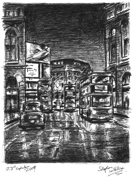 Evening on Regent Street - Original Drawings and Prints for Sale
