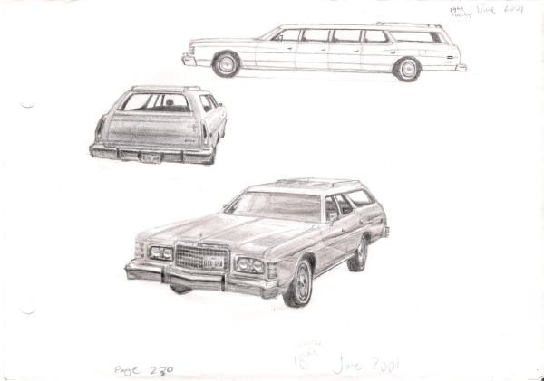 1975-78 Ford LTD Station Wagon - original drawings and prints by Stephen Wiltshire