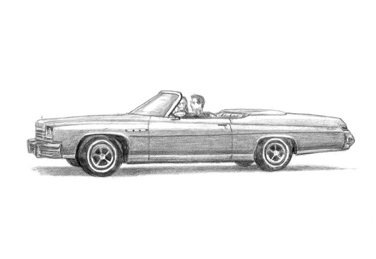 1975 Buick Le Sabre Convertible (A4 print) with White mount (A4) in Flat grain black frame for A4 mounts (J90)