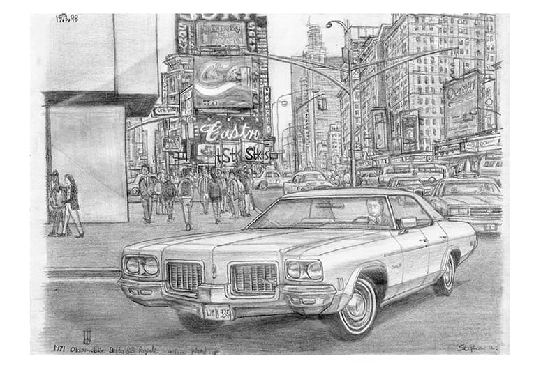 1971 Oldsmobile Delta 88 Royale 4 door Hard Top - original drawings and prints by Stephen Wiltshire