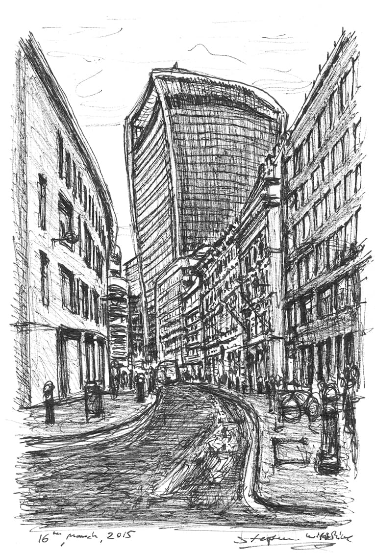 View of 20 Fenchurch Street Walkie Talkie - Original Drawings and Prints for Sale