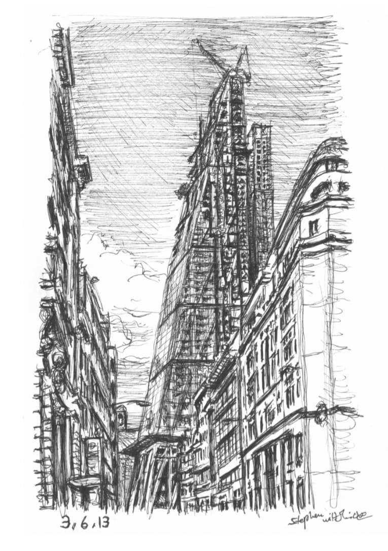 Leadenhall Building in construction - original drawings and prints by Stephen Wiltshire