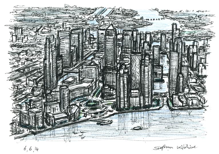 Aerial view of Canary Wharf in the future - Original Drawings and Prints for Sale