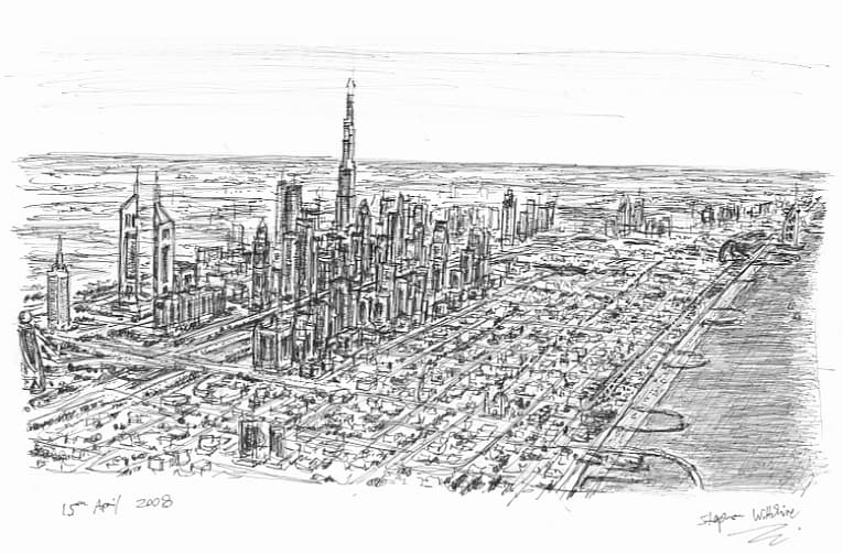 Aerial view of Dubai 2008 - original drawings and prints by Stephen Wiltshire