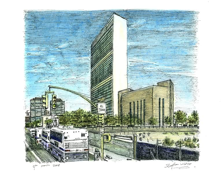 United Nations HQ, New York - originals and prints by Stephen Wiltshire MBE